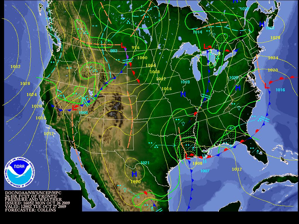 Forecast Map, Tuesday, Image: NOAA