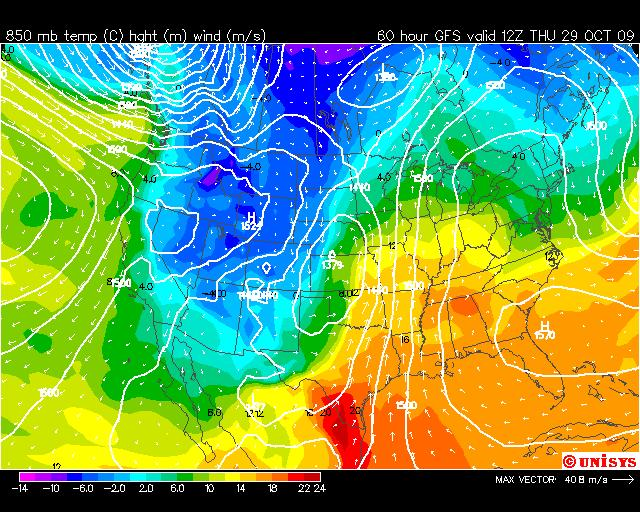 Thursday, Warm East, Cold West,  Image: Unisys Weather