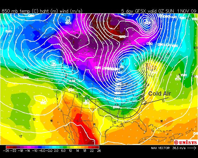 Cooler Air Travels East for Halloween, Image: NOAA