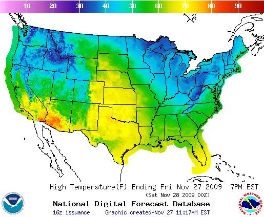 Today's Temperature Forecast, Image: NOAA