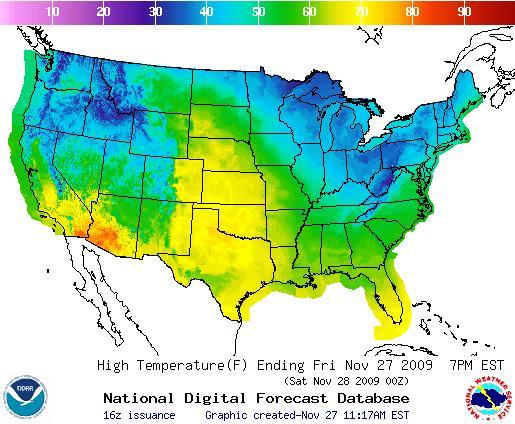 Today's Temperature Forecast, Image: NOAA