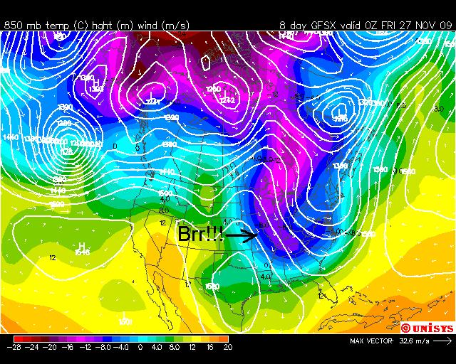 Cold Air Moves South, Image: Unisys Weather