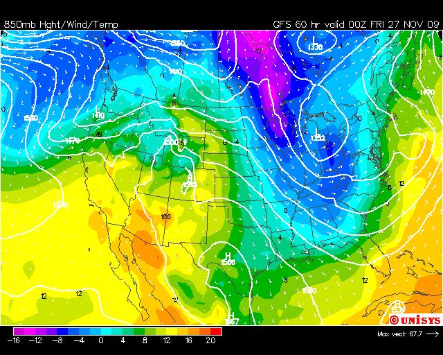 Thanksgiving Temperature Forecast, Image: Unisys Weather