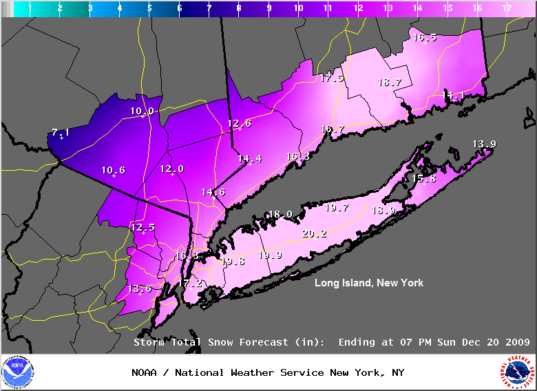 Snow Forecast (in inches) New York, Image: NOAA