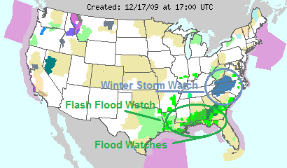 National Watches and Warnings, Image: NOAA