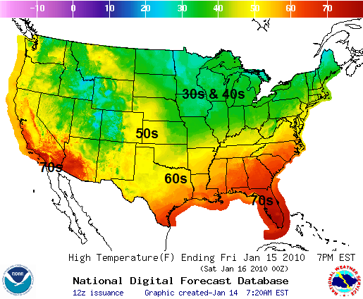 Friday's Temperature Forecast, Image: NOAA