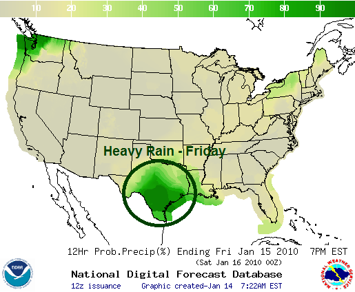 Friday's Rain Forecast, Image: NOAA
