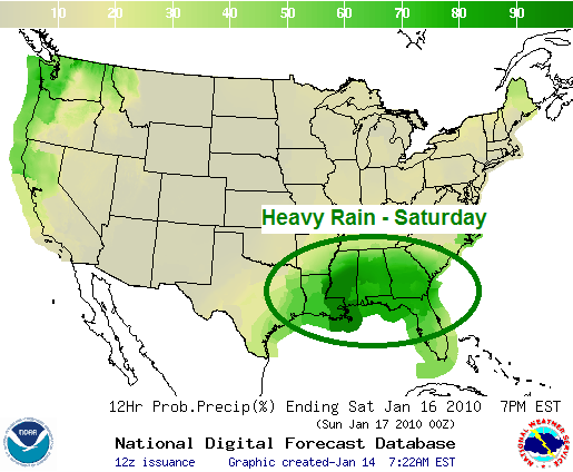 Saturday's Rain Forecast, Image: NOAA