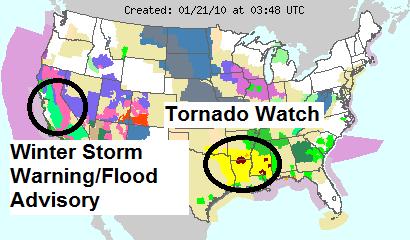 US Watches & Warnings, Image: NOAA