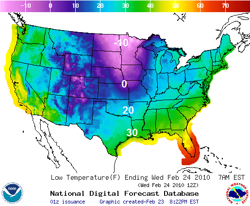 Forecasted Lows, Image: NOAA