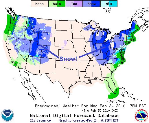 Snow Forecast, Image: NOAA