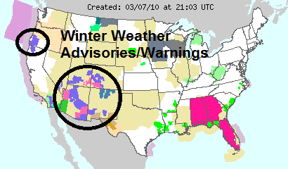 National Weather Service Advisories Map, Source: NOAA