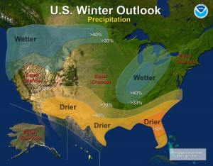 Winter Precipitation Outlook, courtesy: NOAA