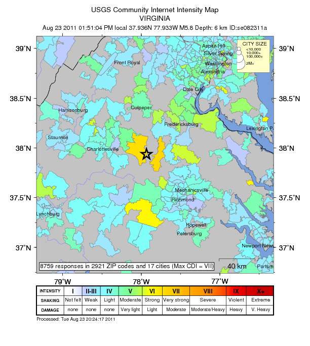 Virginia Earthquake, Image: US Geological Survey