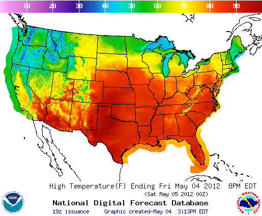 Friday Highs, Image: NOAA